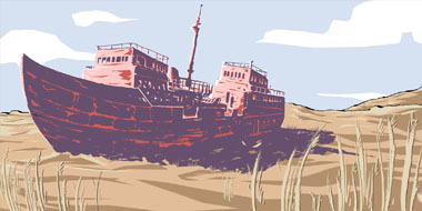 Grade 5 Curriculum Cover Drawing - A ship on dry land